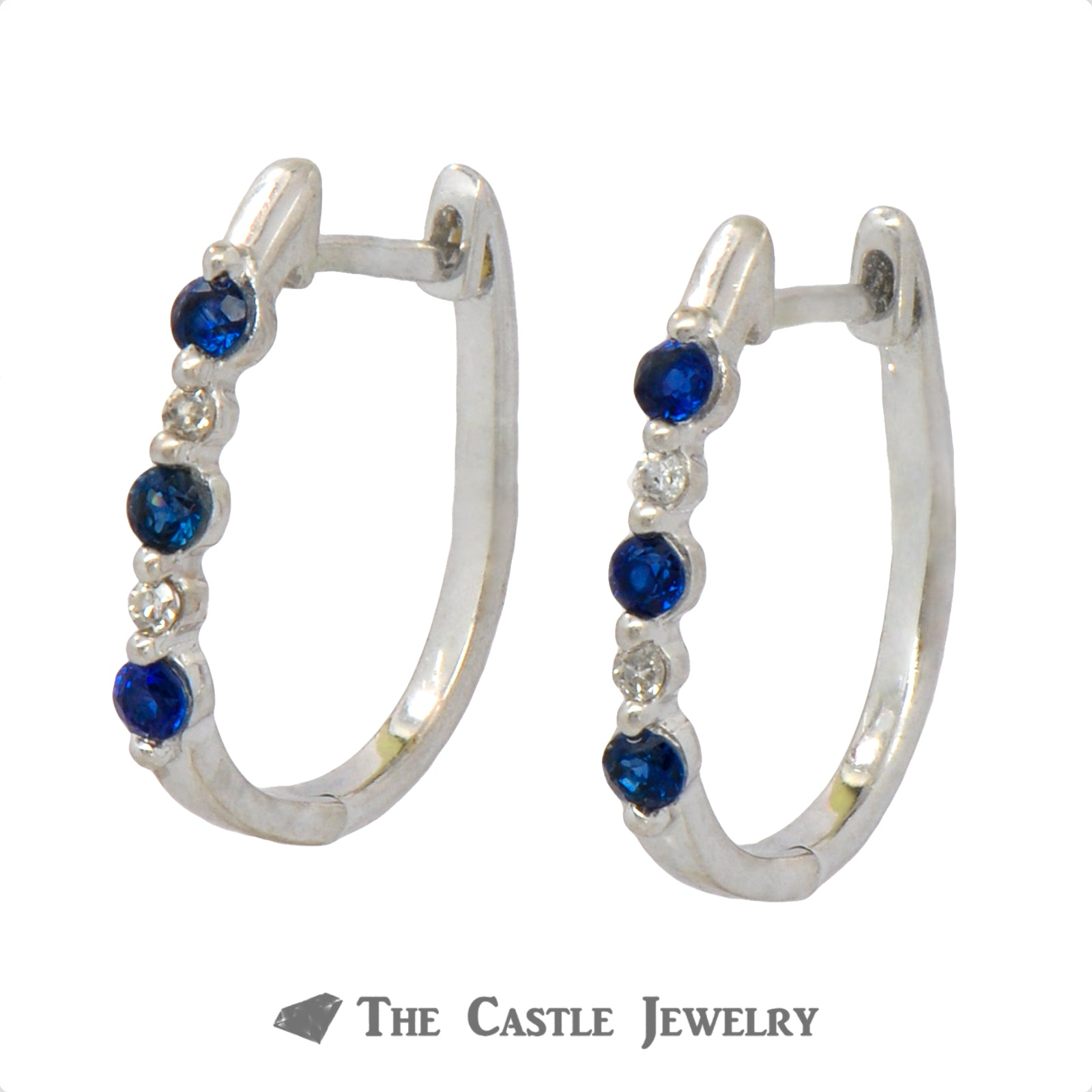 Round Sapphire & Diamond Huggie Earrings in 10k White Gold-1