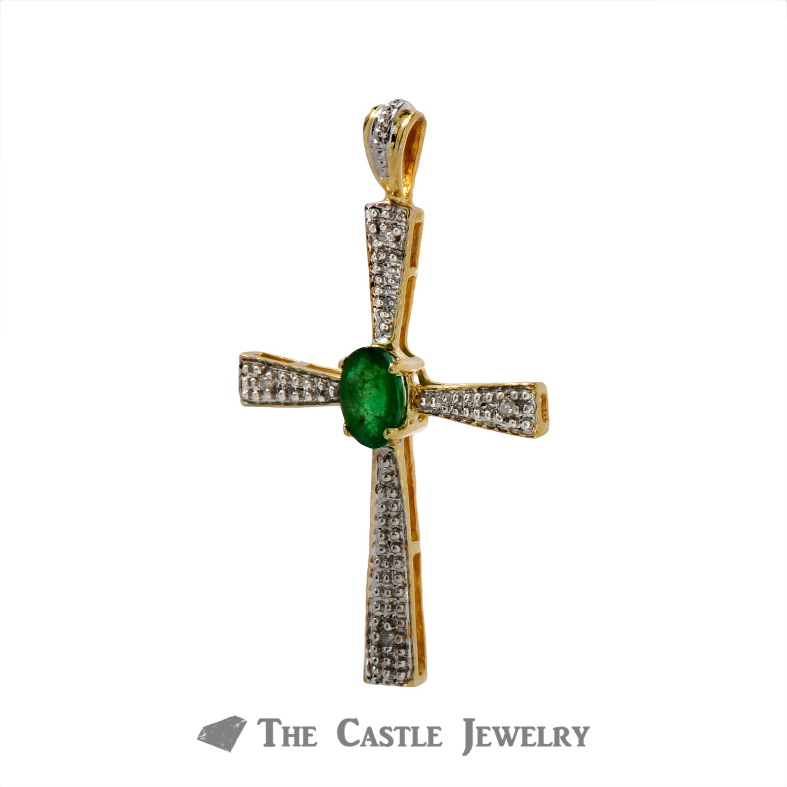 Oval Cut Emerald Cross Pendant with Diamond Accents Crafted in 14k Yellow Gold-1