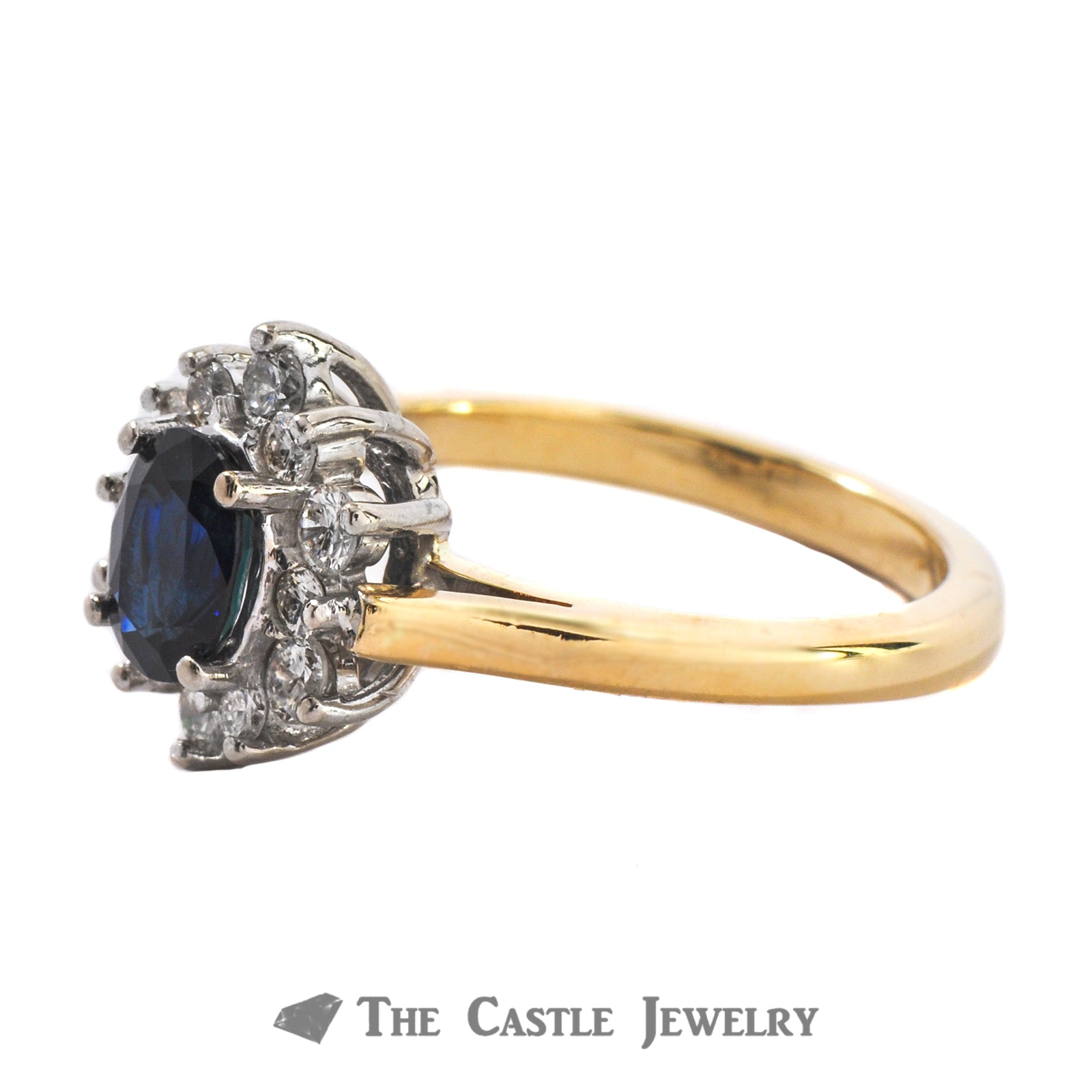 Princess Di Style Blue Sapphire And Diamond Ring In 14K Yellow Gold-1