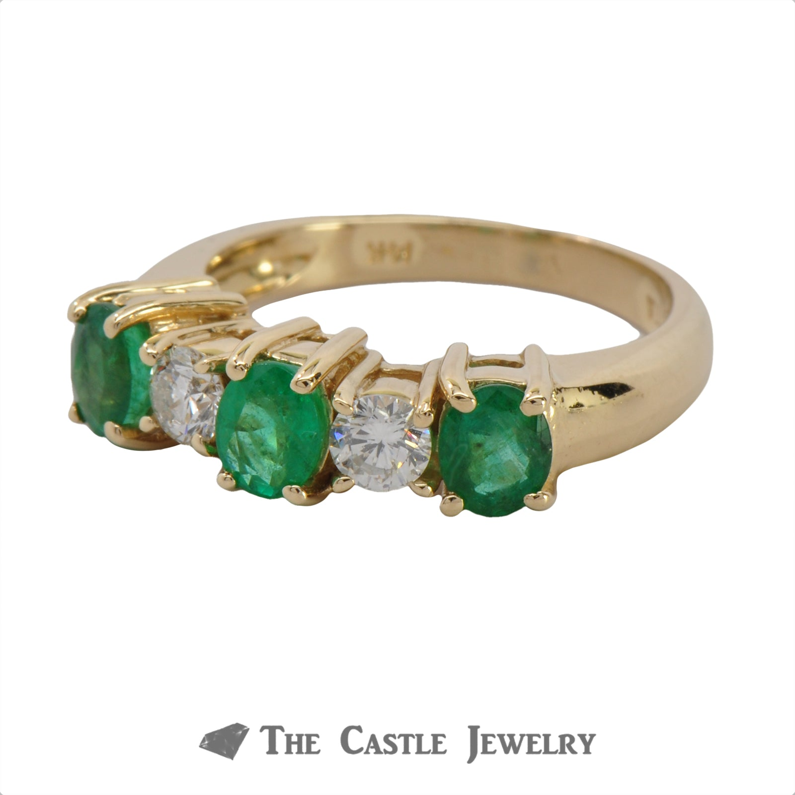 Deep Green Emerald And Diamond Ring In 14K Yellow Gold-2
