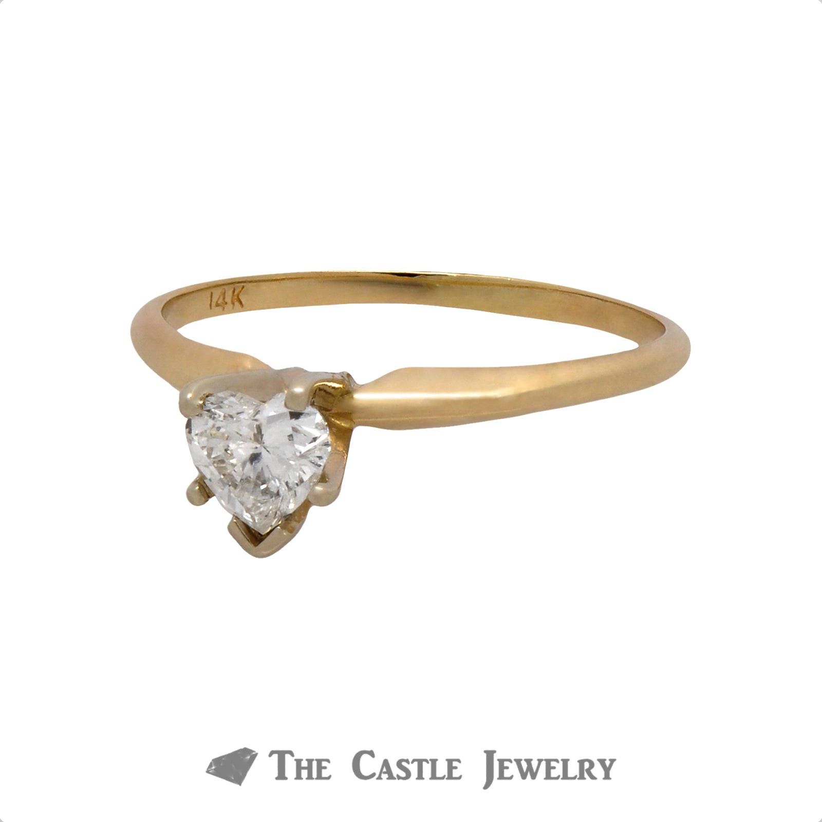 Heart Shaped 1/2 Carat Diamond Solitaire Ring in 14K Gold-2