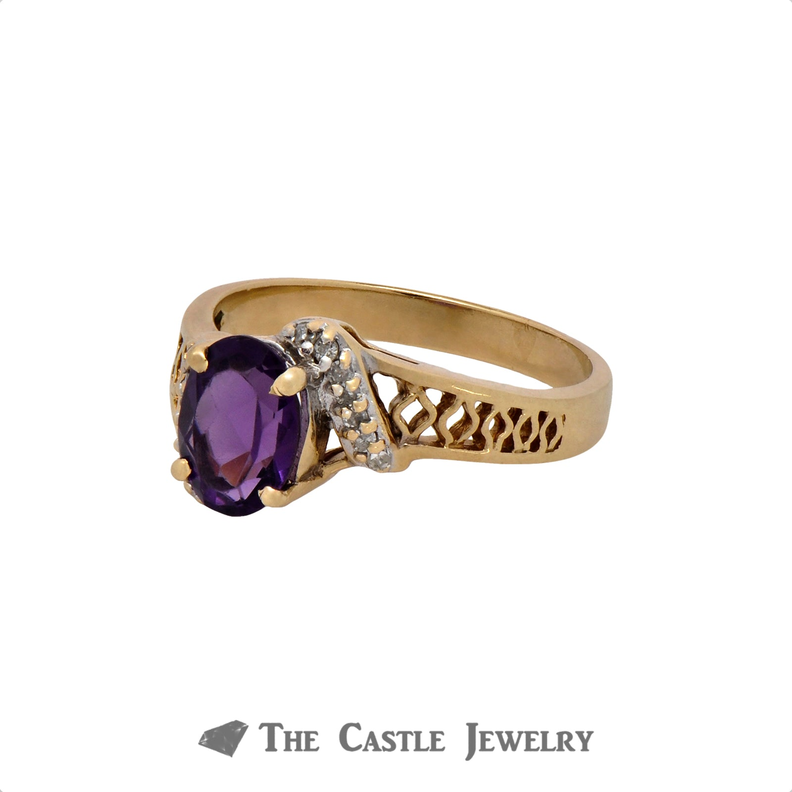 Oval Cut Amethyst Ring with .07cttw Diamond Accents in 10k Yellow Gold Open Filigree Setting-2