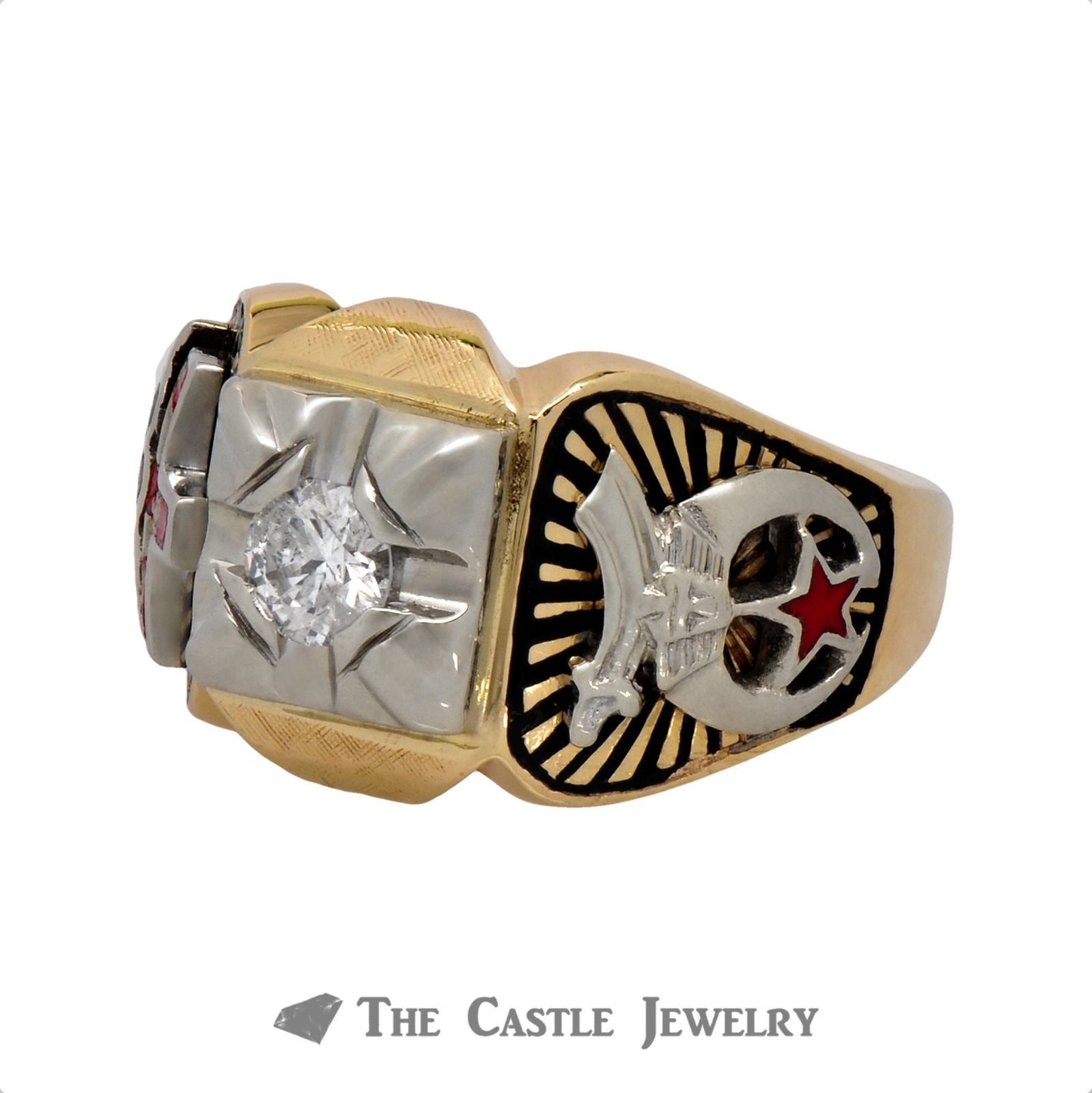 Ancient Order of the Nobles of the Mystic Shrine Ring with Diamond Solitaire-3
