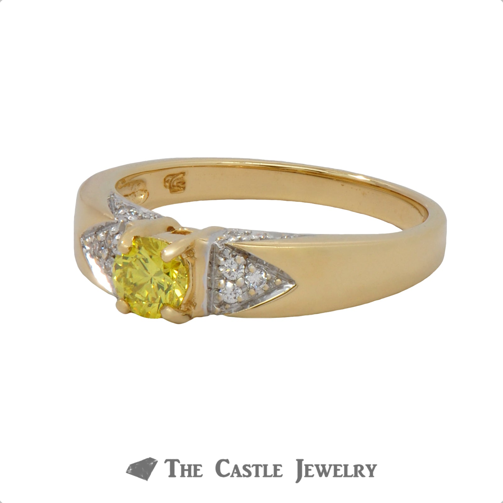 Diamond Engagement Ring With .33 CT Fancy Yellow Diamond .50 CTTW 18K Yellow Gold-2
