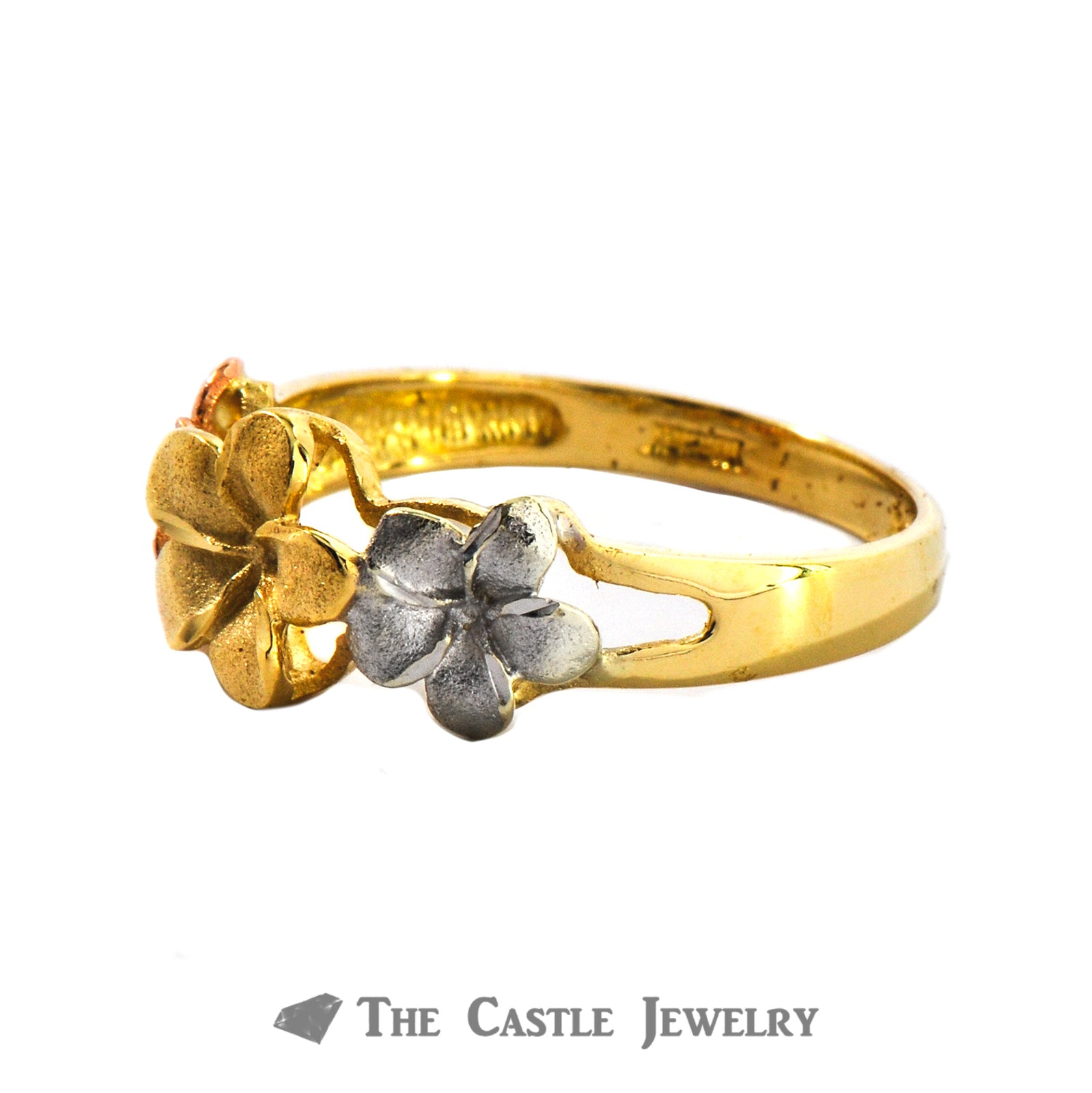 Tri-Gold Flower Ring In 14K White, Yellow, Rose Gold-1