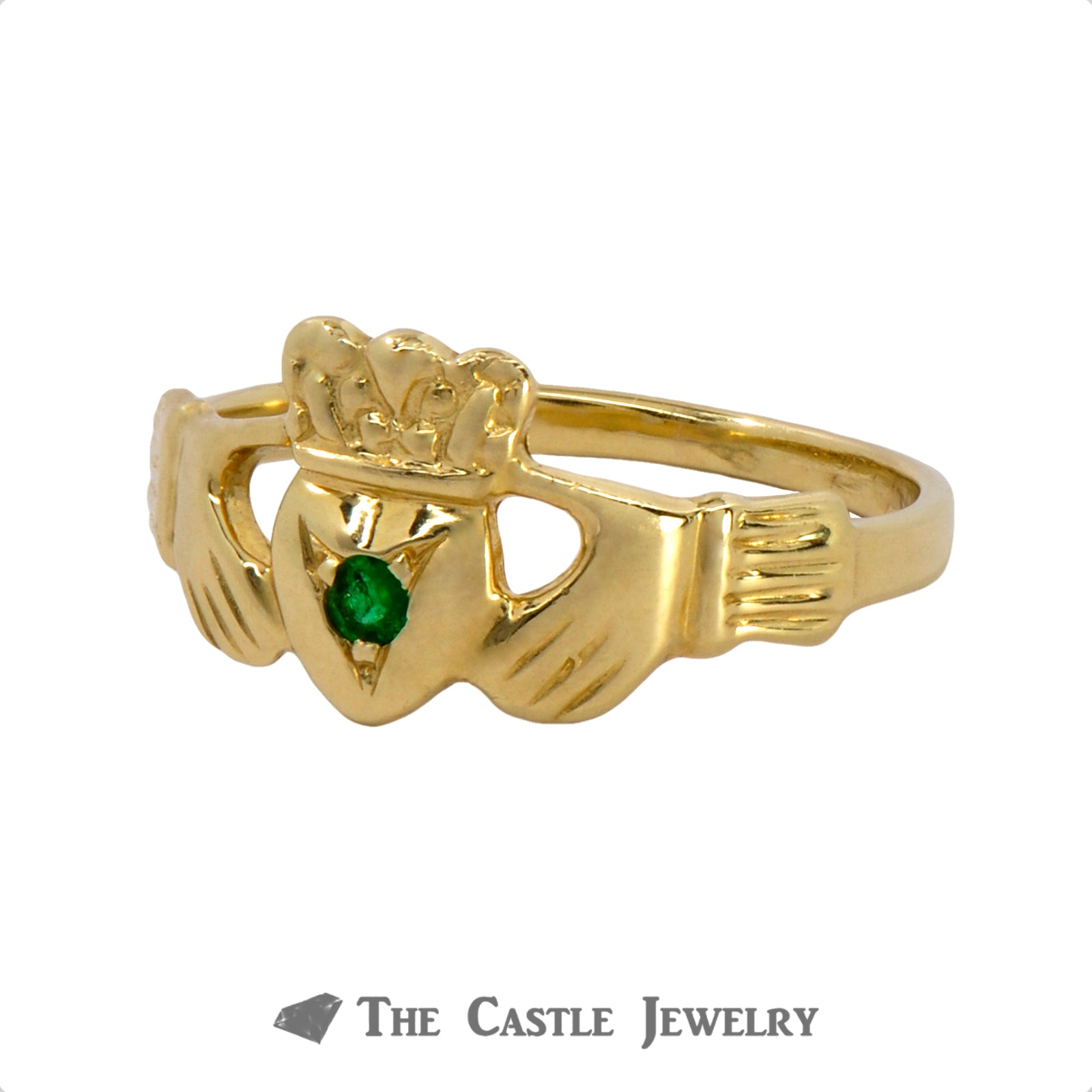 Claddagh Ring with Round Emerald Center Crafted in 14k Yellow Gold-2