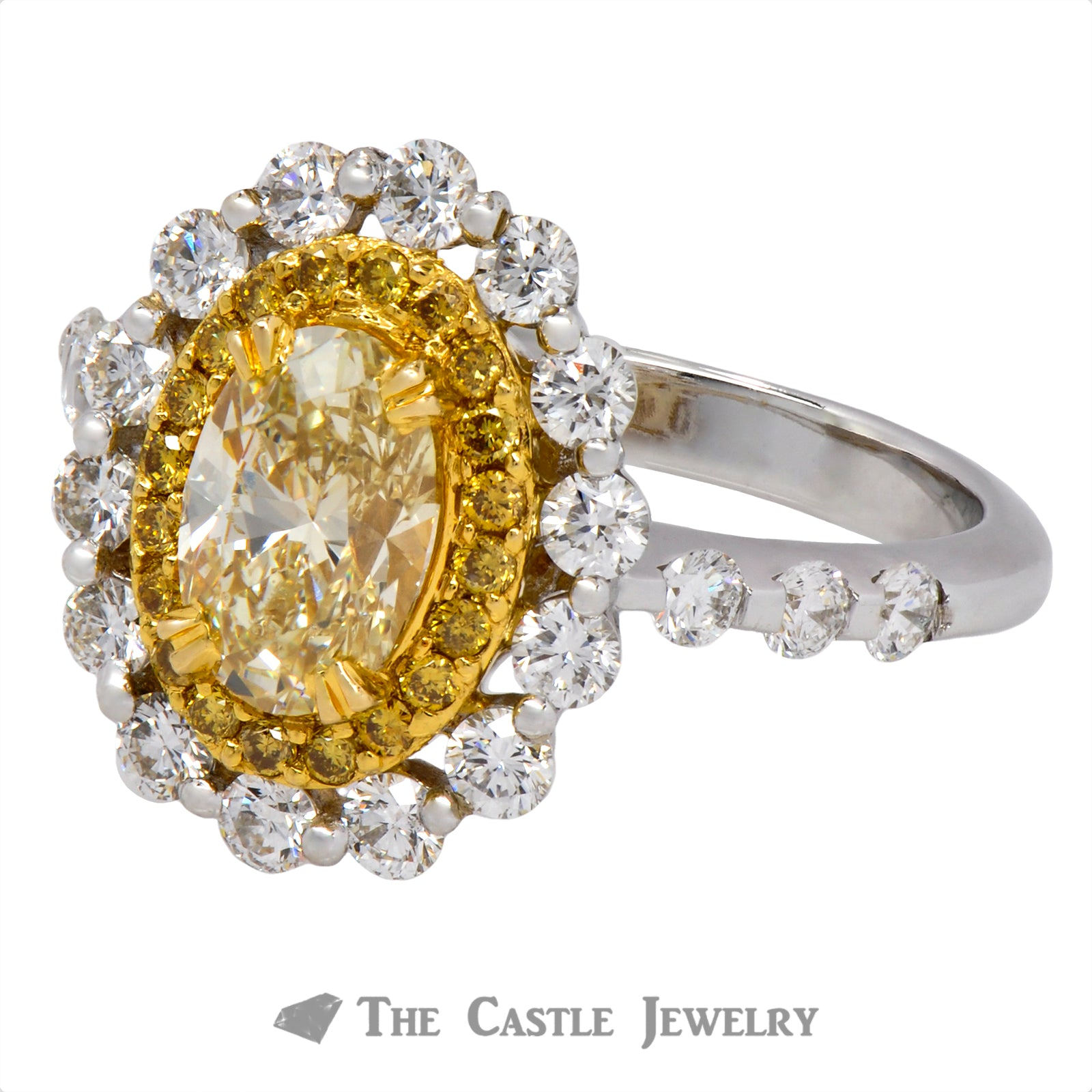 Unique Oval Fancy Yellow Diamond Ring-2