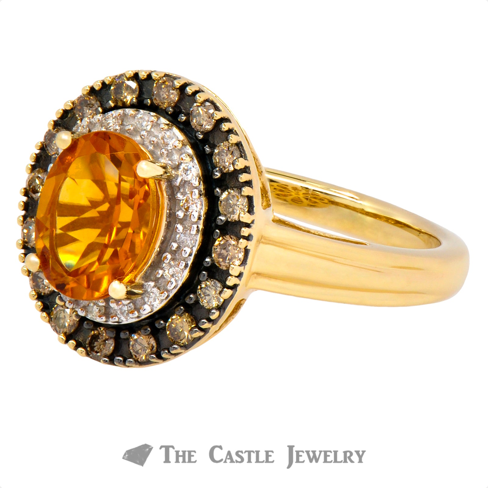 Oval Citrine Double Halo Ring Crafted in 14K Yellow Gold-2