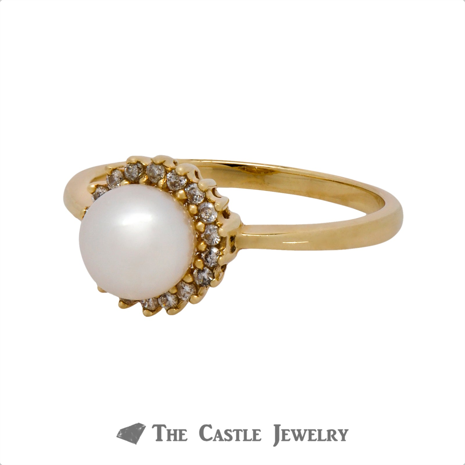 Gorgeous Pearl Ring with .18cttw Diamond Halo Crafted in 10k Yellow Gold-2