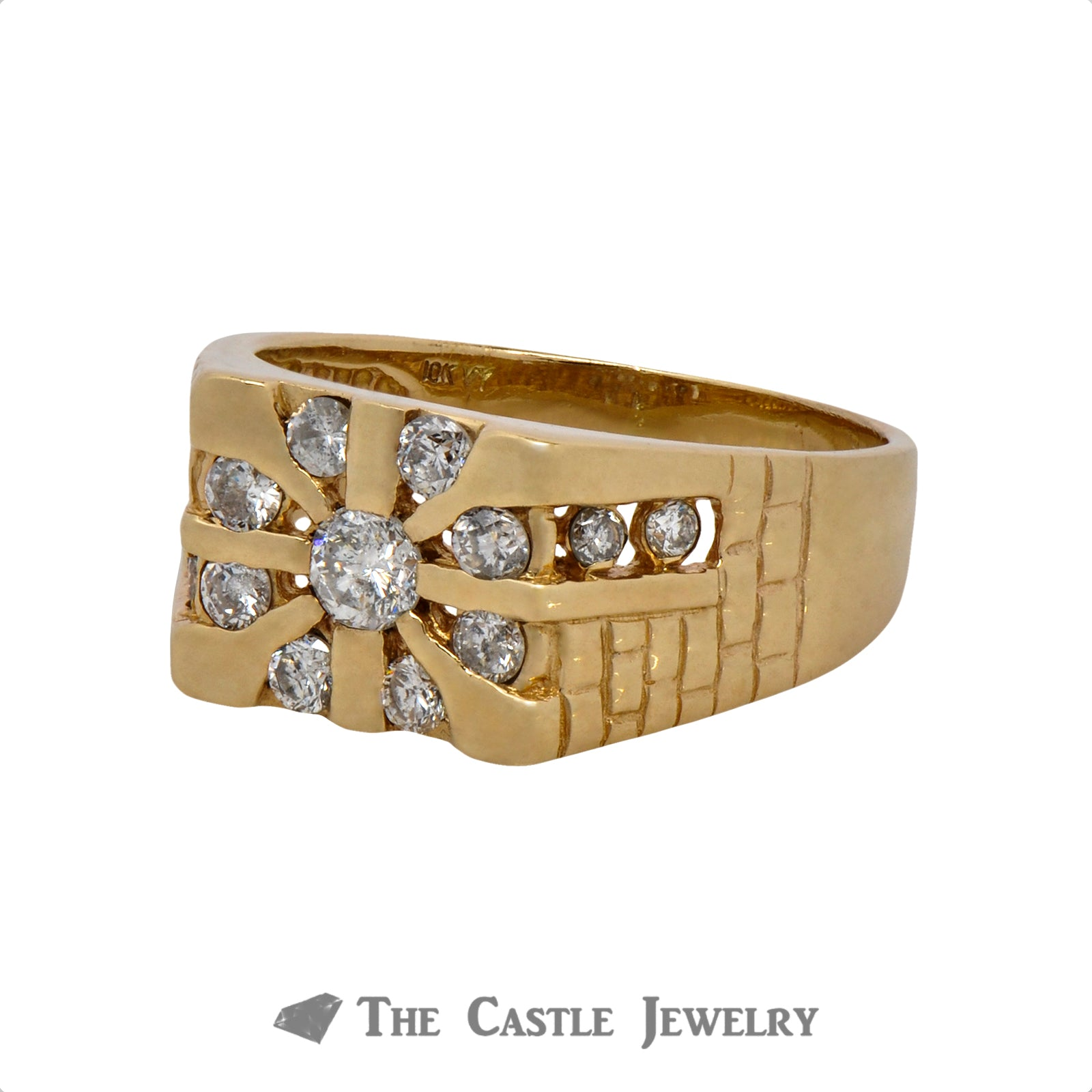 1cttw Gent's Sunburst Style Diamond Ring Crafted in 10k Yellow Gold-2