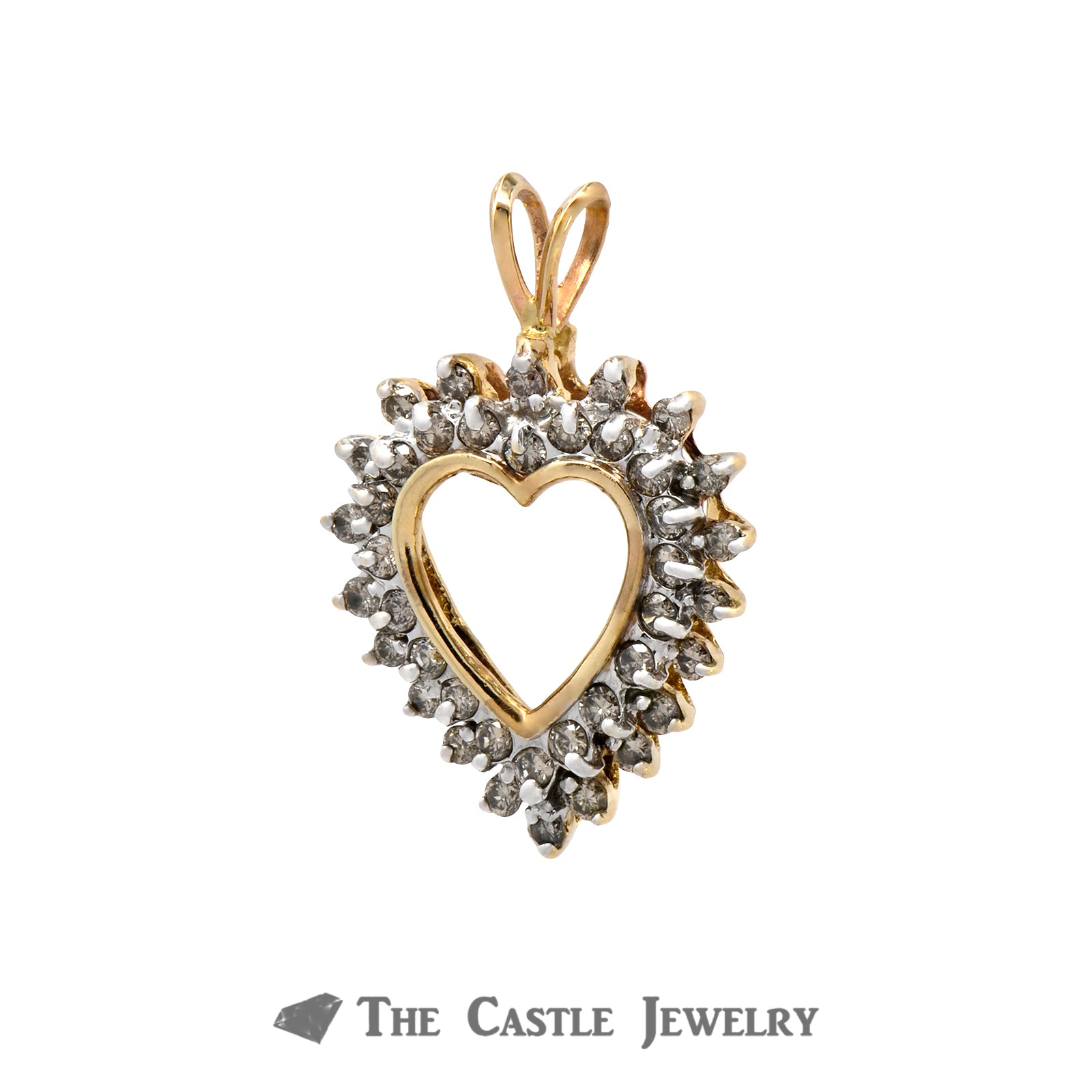 Heart Shaped Pendant Outlined with .75cttw Double Diamond Rows Crafted in 10k Yellow Gold-1
