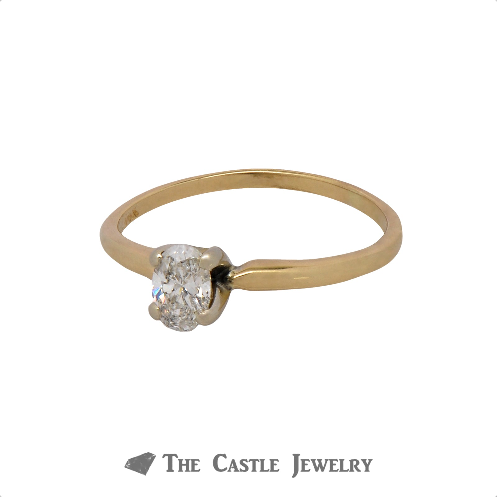 Oval Cut .45ct Diamond Solitaire Engagement Ring in 14k Yellow Gold-2