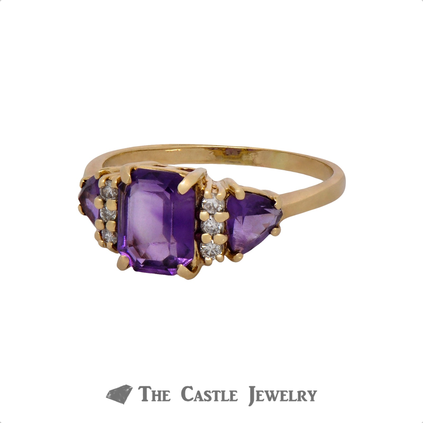 Emerald Cut Amethyst Ring with Trillion Cut Amethyst and Round Diamond Accents in 10k Yellow Gold-2