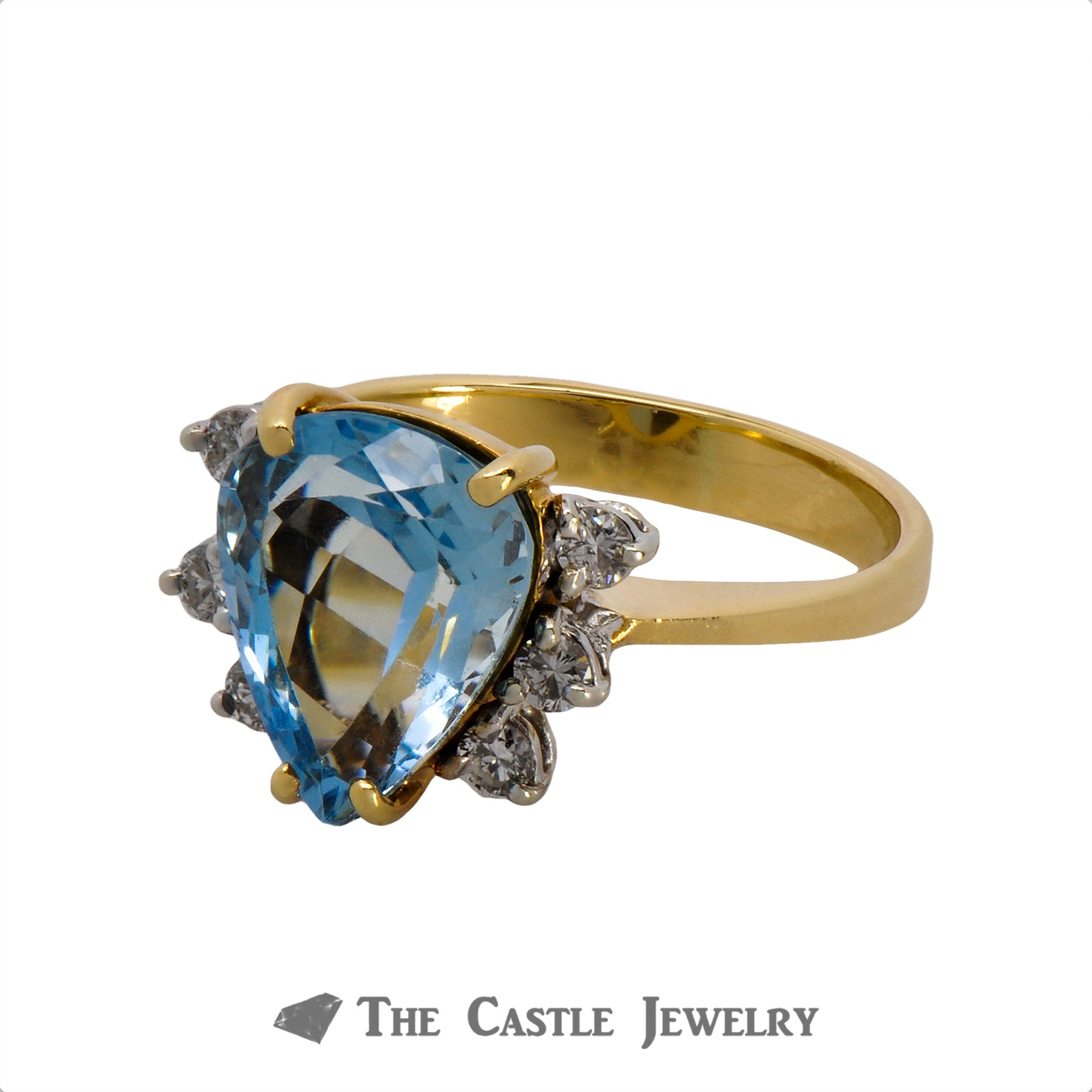Vibrant Pear Cut Aquamarine Ring with Round Diamond Accents in 18k Yellow Gold-2