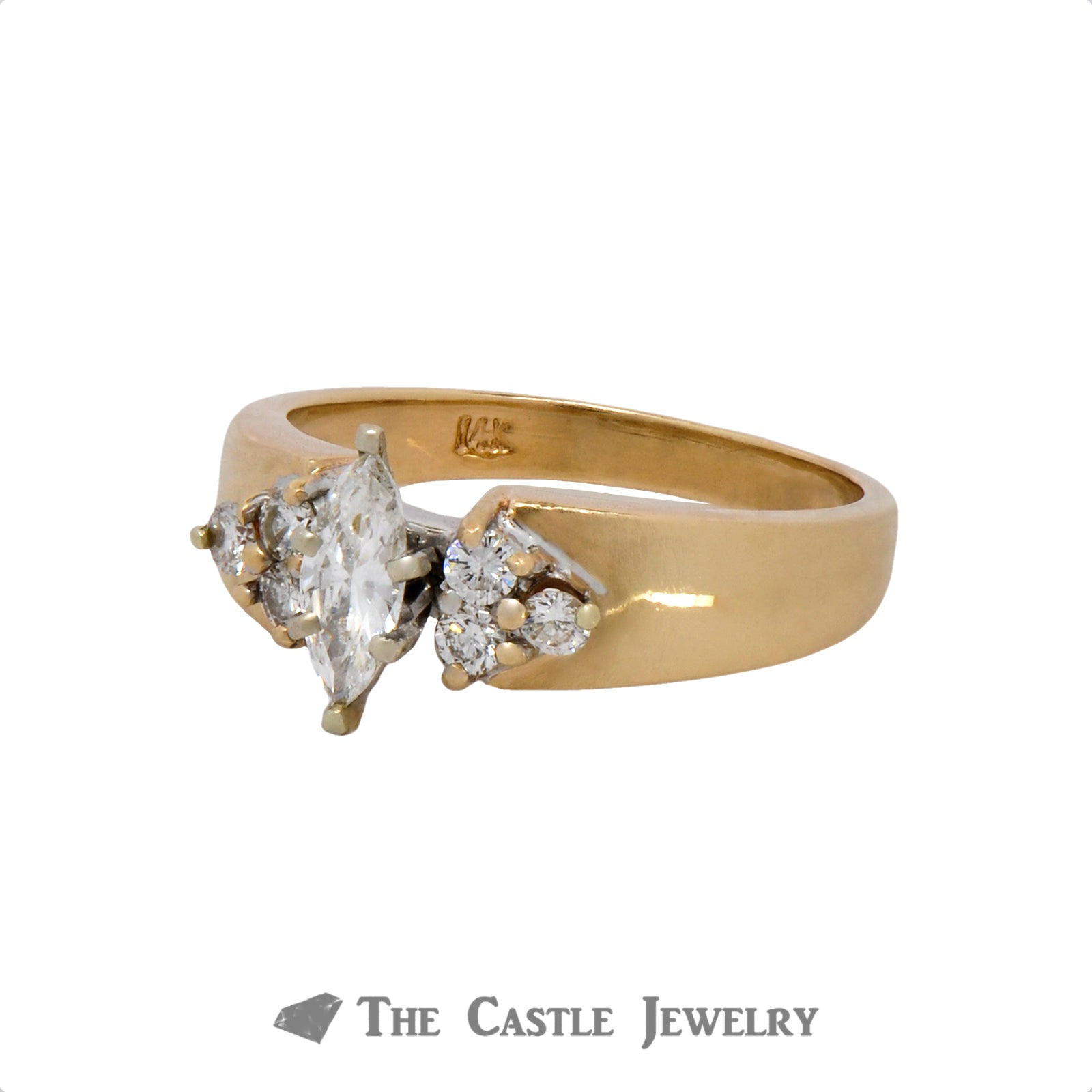 Marquise Cut Diamond Engagement Ring with Round Diamond Accents in 14k Yellow Gold-2