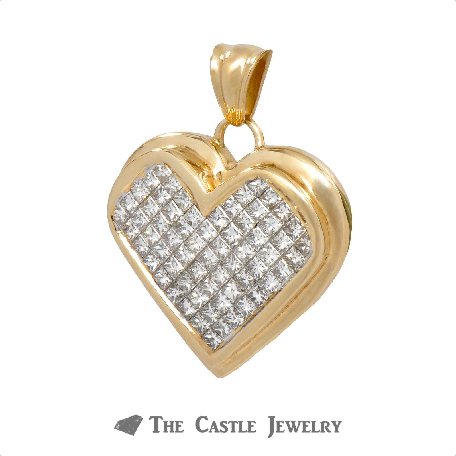 2cttw Heart Shaped Invisible Set Princess Cut Diamond Pendant Crafted in Yellow Gold-1