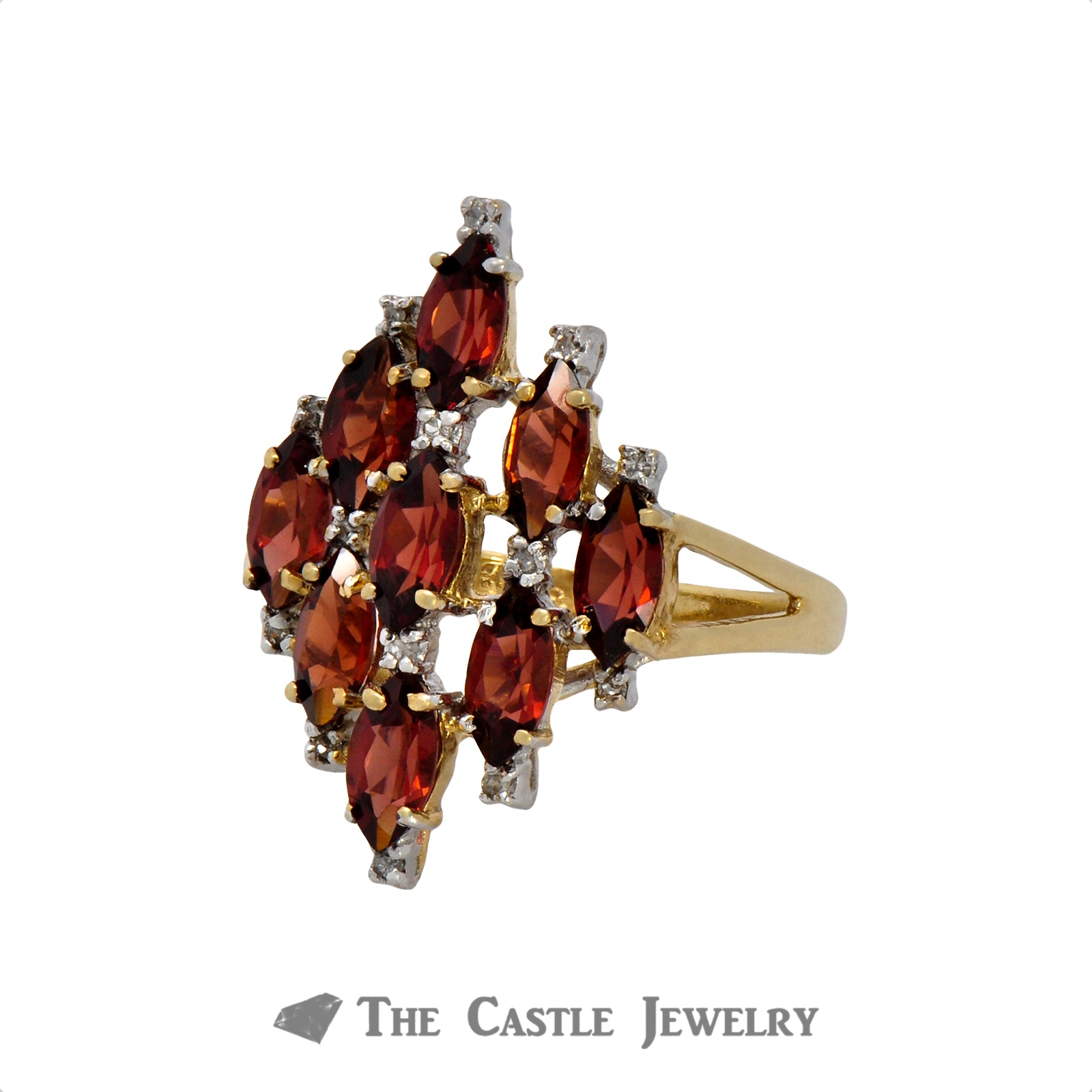 Marquise Shaped Garnet Cluster Ring in 10K Yellow Gold-2
