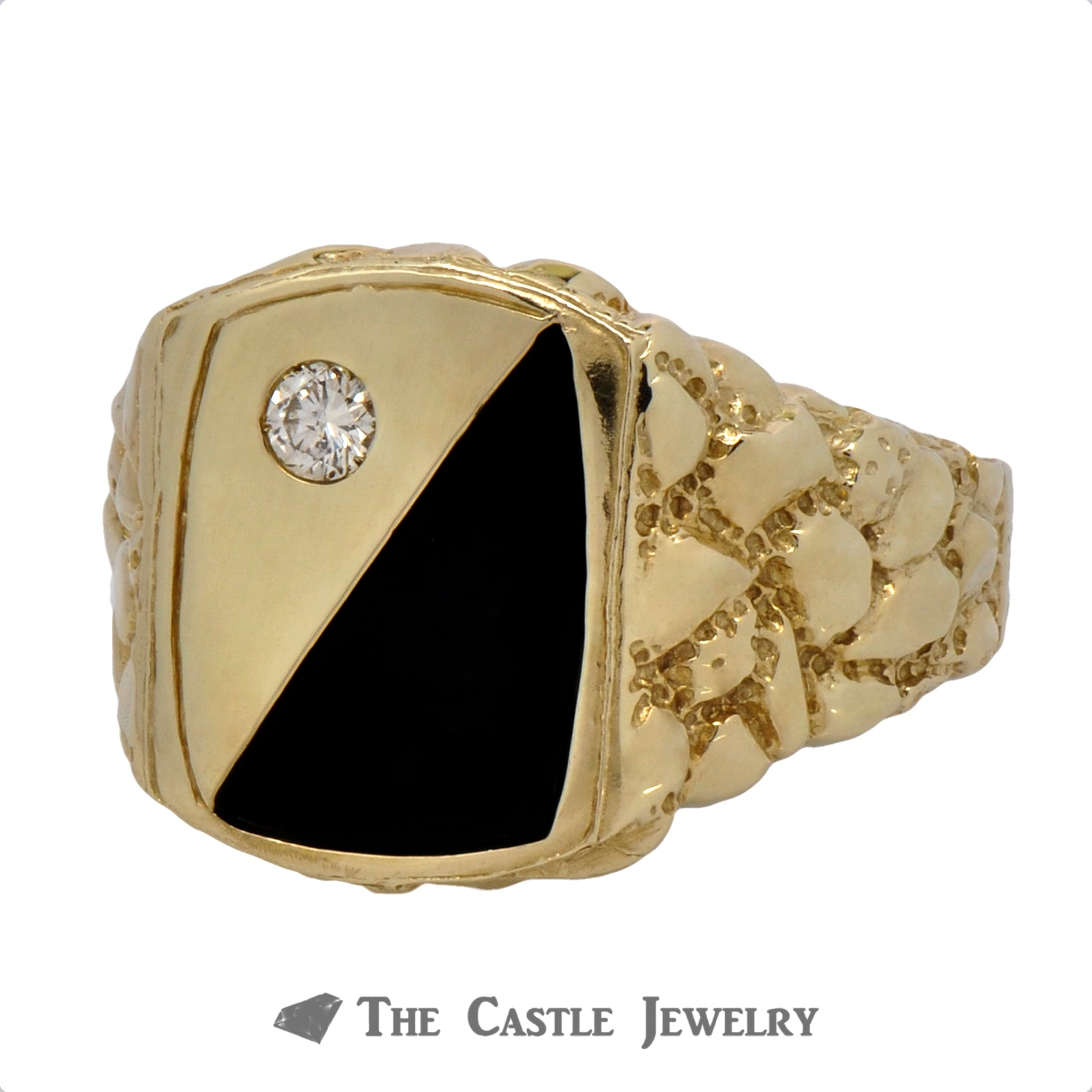Men's Diamond & Onyx Ring in 10k Yellow Gold Mounting with Nugget Sides-2