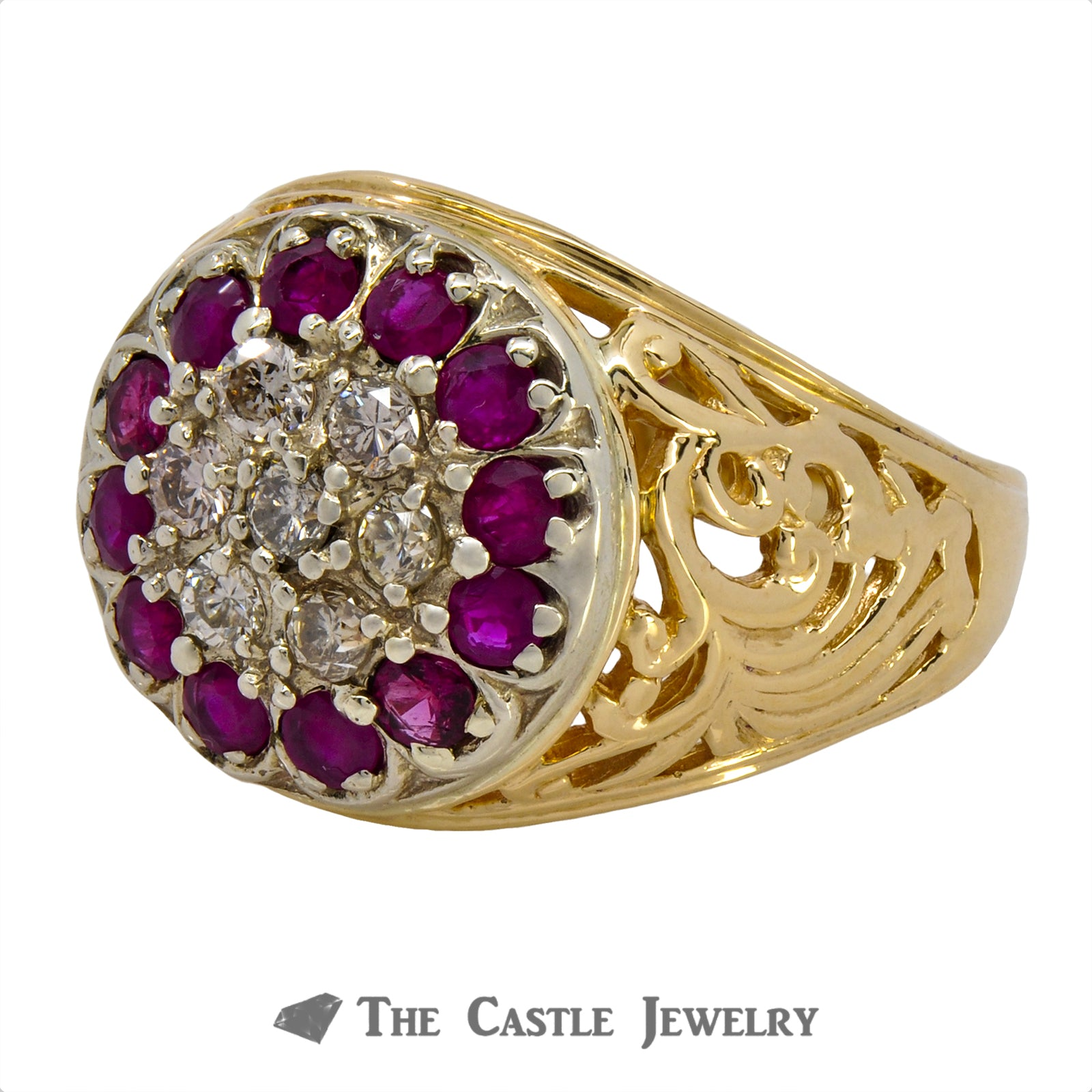 Gent's Round .50cttw Diamond & Ruby Kentucky Cluster w/ Scroll Design Sides in 14k Yellow Gold-2
