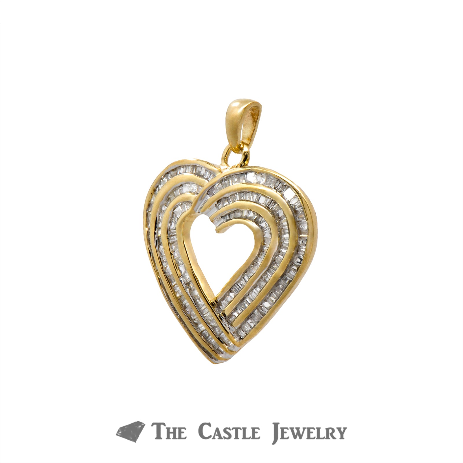 Heart Pendant with 3 Rows of 1cttw Channel Set Baguette Cut Diamonds in 10k Yellow Gold-1