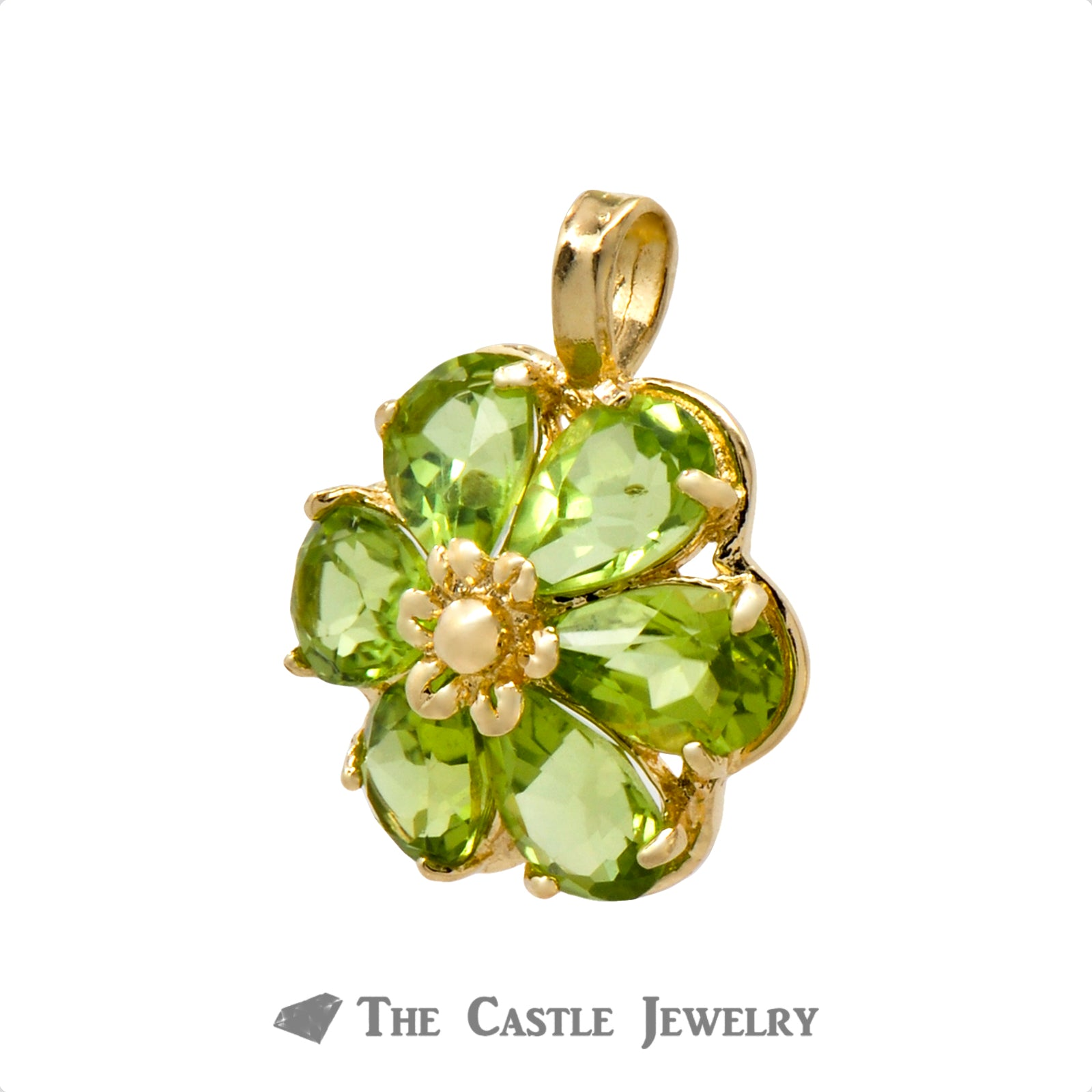 Peridot Flower Pendant in 14K Gold-1