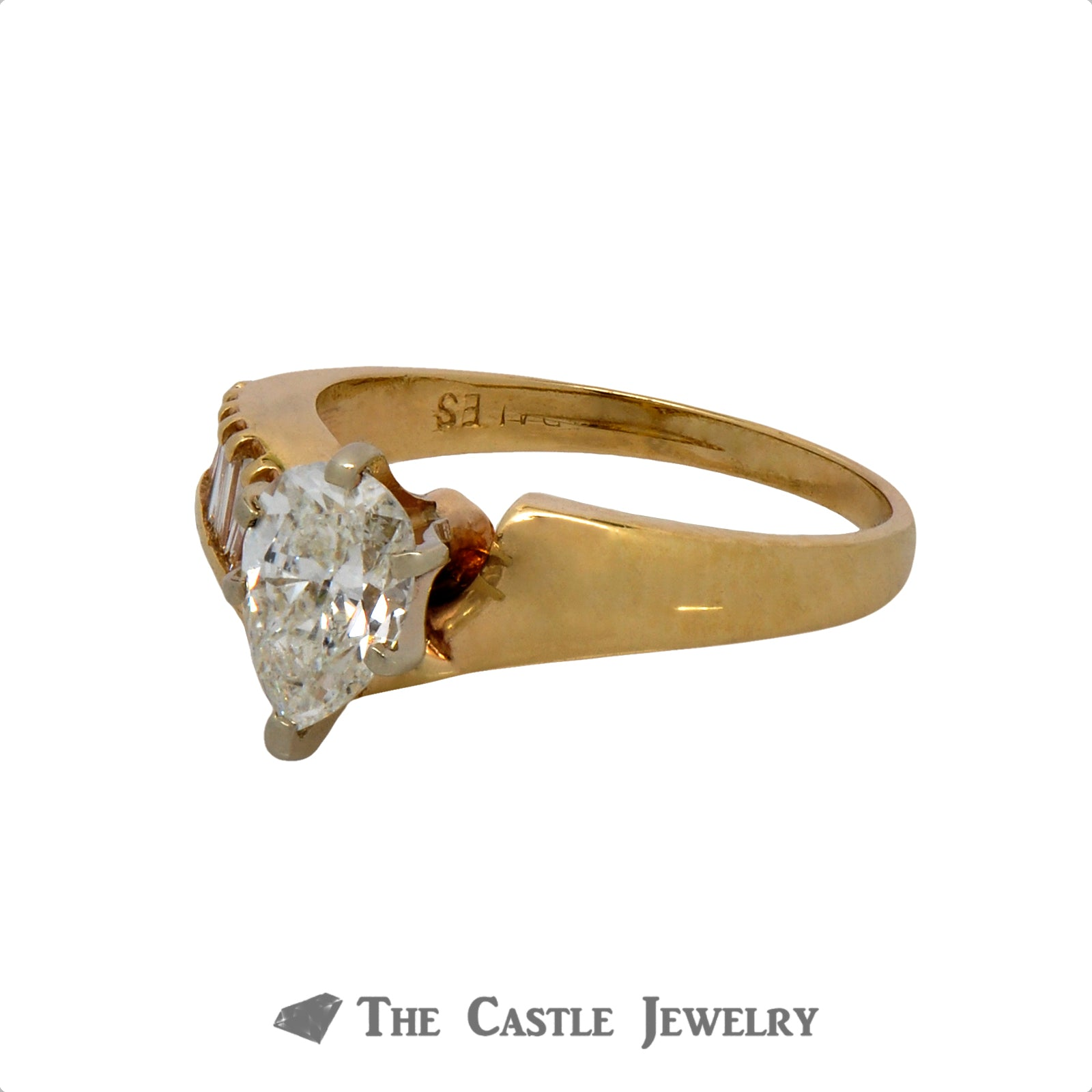 Pear Cut Diamond Engagement Ring with Asymmetrical Baguette Cut Diamond Accents in 14k Yellow Gold-2