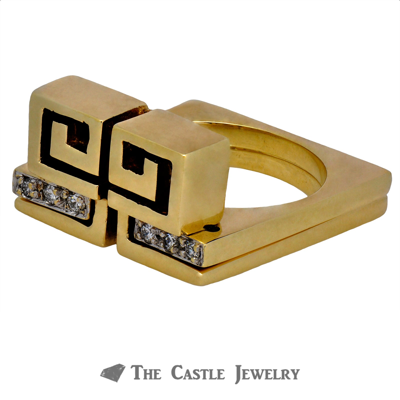 Men's Two Piece Square Greek Key Puzzle Design Ring-2