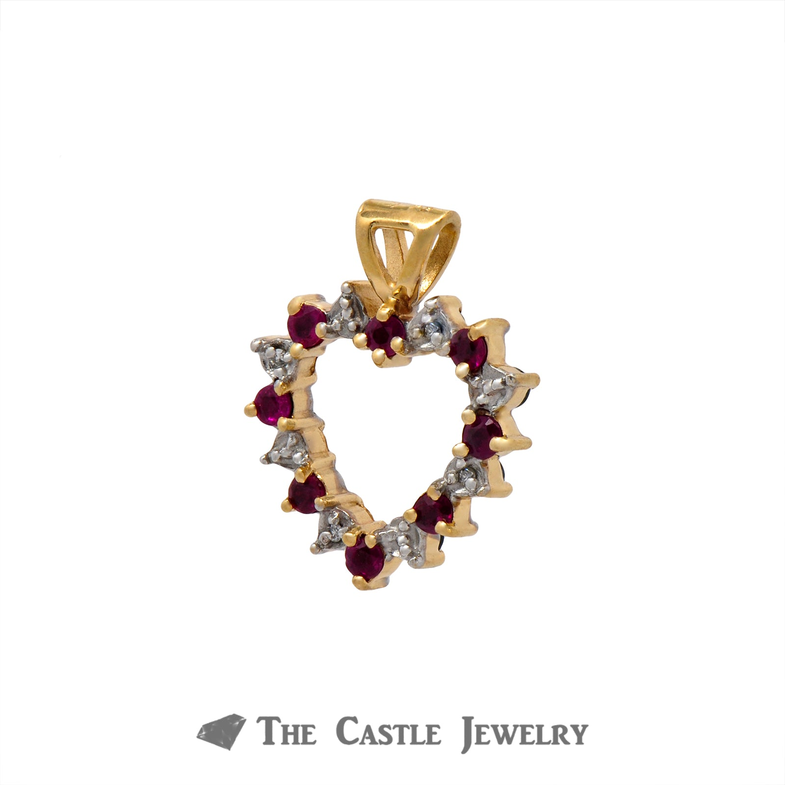 Reversible Ruby & Sapphire Open Heart Pendant with .04cttw Diamond in 14k Yellow Gold-2