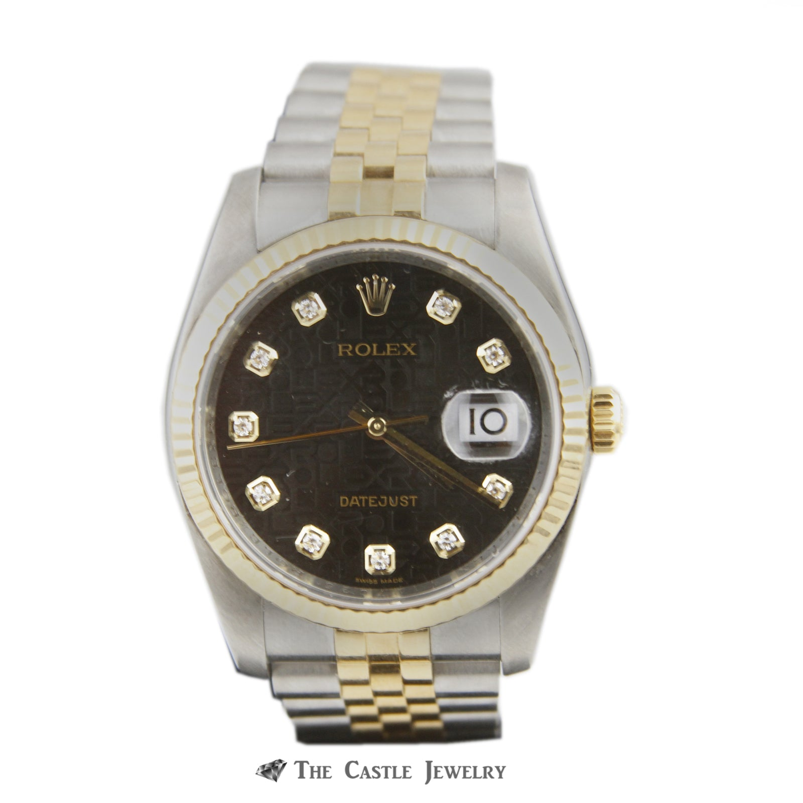 Rolex Datejust w/ Black Signature Dial w/ Stainless Steel & 18K Two Toned Jubilee 116233-0