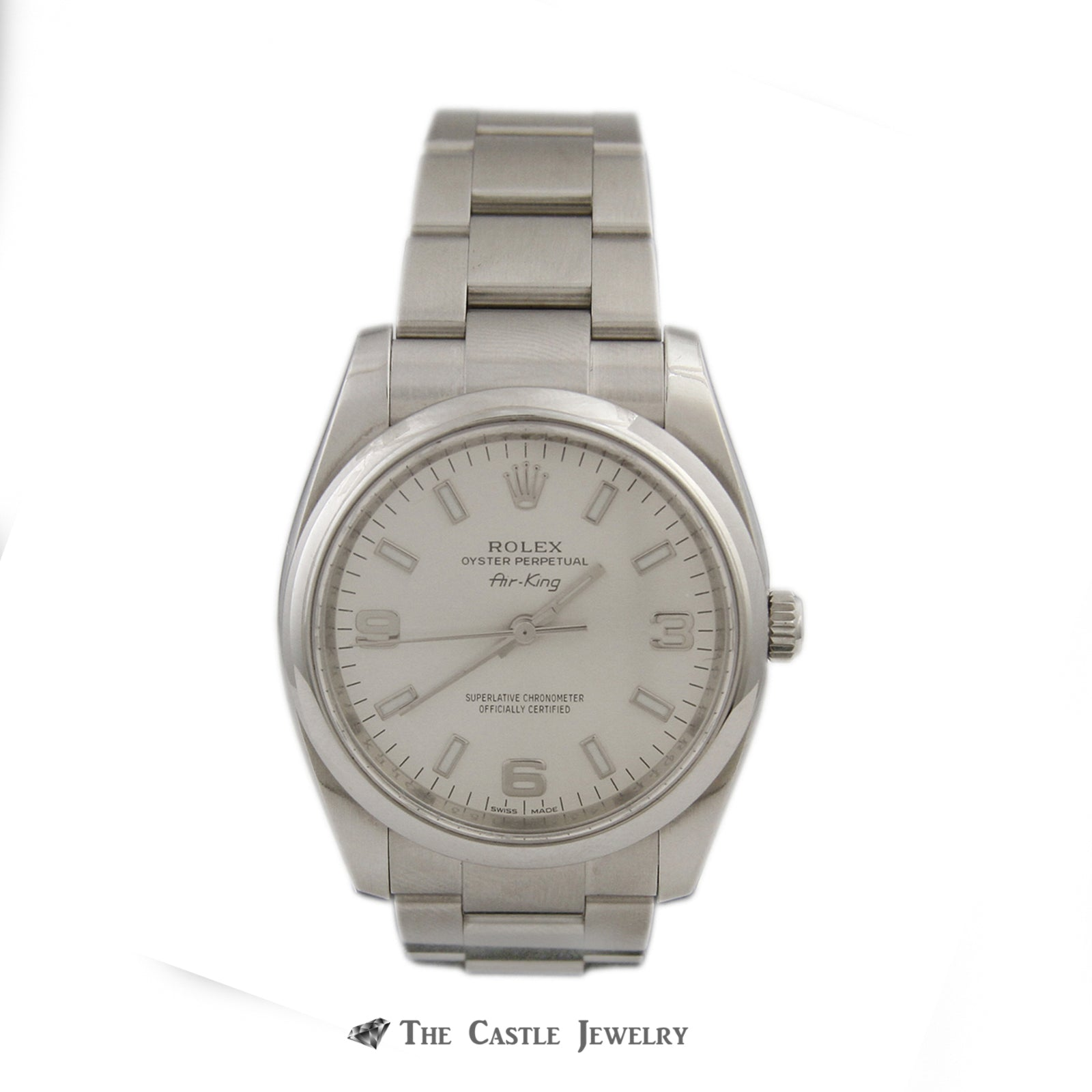 Rolex Air King 34mm Watch All Stainless w/ Silver Arabic Dial and Polished Bezel 114200