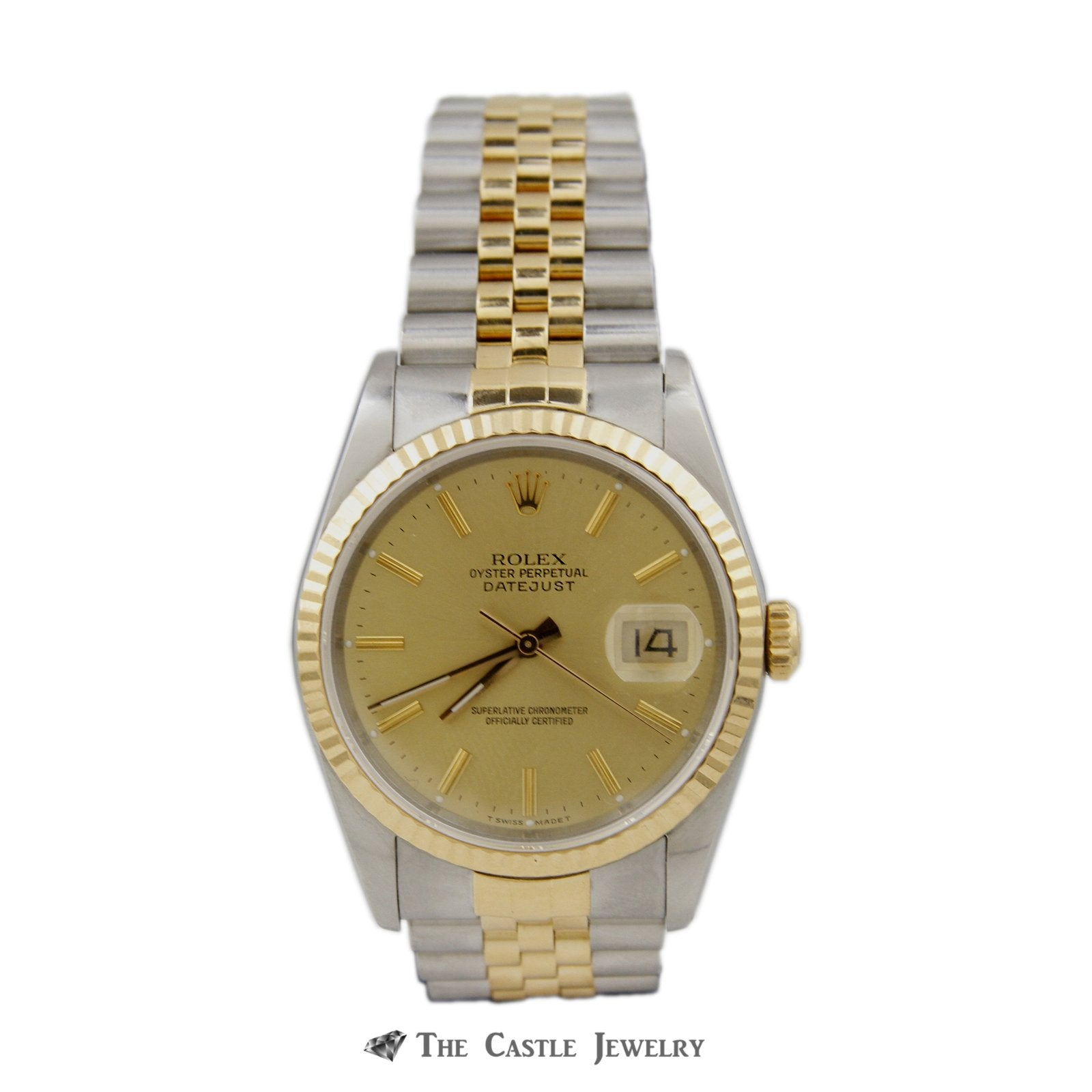 Rolex Datejust 36mm Watch 18K/Steel Gold Dial Fluted Bezel 16233 BARELY WORN-0