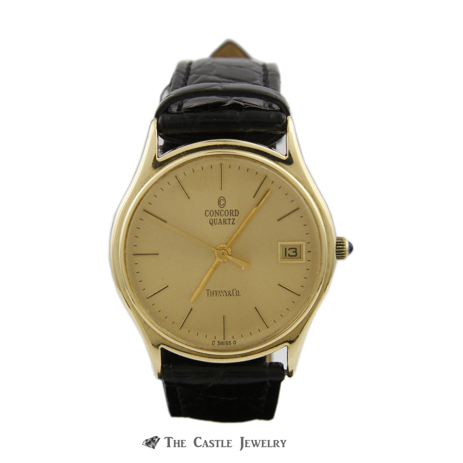 "Tiffany & Co. ""Concord"" Quartz Watch w/ Black Leather Band w/ 14k Yellow Cold Case & Buckle"