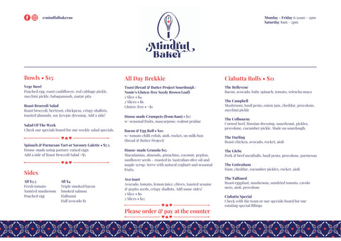 Mindful Baker Glebe cafe menu