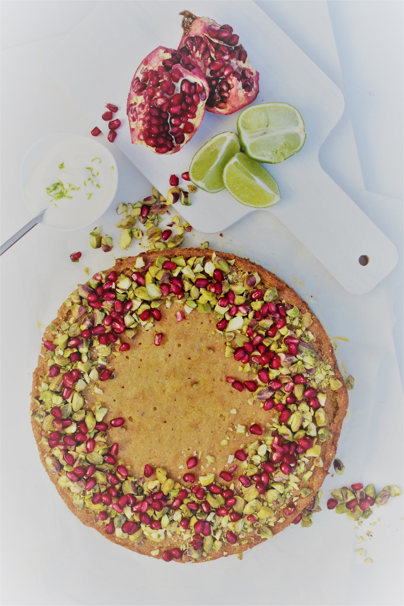 Pistachio, Lime & Pomegranate Cake
