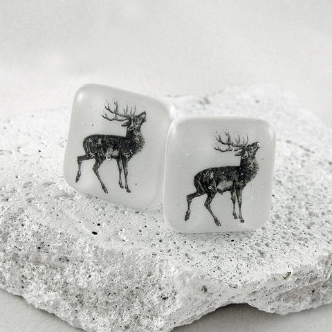 Stag Glass Cufflinks by Georgina Griffiths Glass