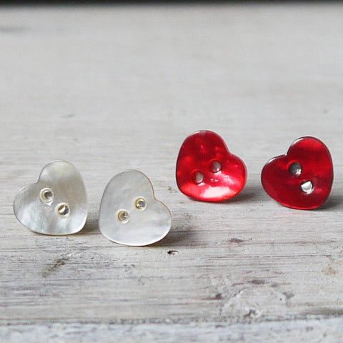 Heart Mother of Pearl Earrings by Amanda Jane