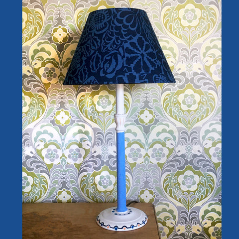 Hand-Painted Turned Beech Lamp by Snowden Flood