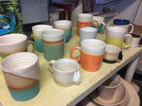 Stoneware mugs and vases from Lesley McShea
