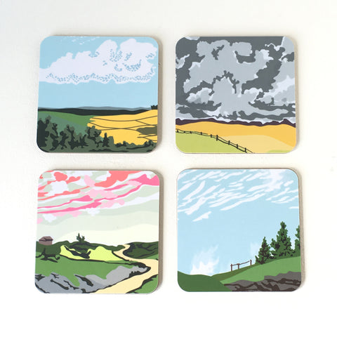 Set of Four Rural Landscape Coudspotter Coasters