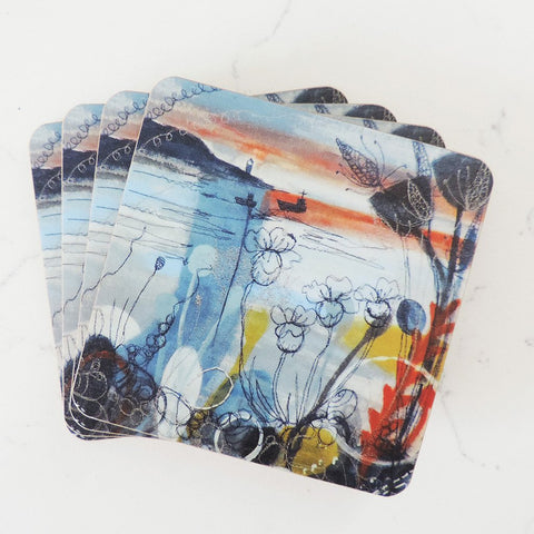 Set of 4 Coasters 'Evening Light' by Freyelli Textiles