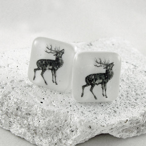 Stag Glass Cufflinks by Georgina Griffiths