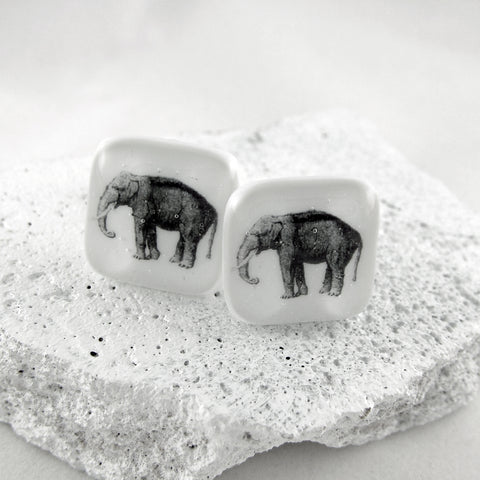 Elephant Glass Cufflinks by Georgina Griffiths