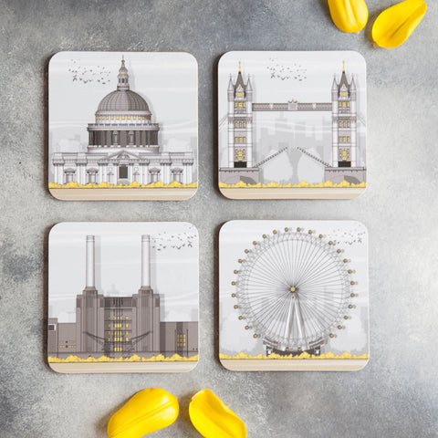London set of 4 coasters by Linescapes