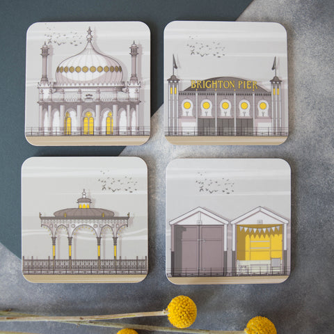 Brighton set of 4 coasters by Linescape