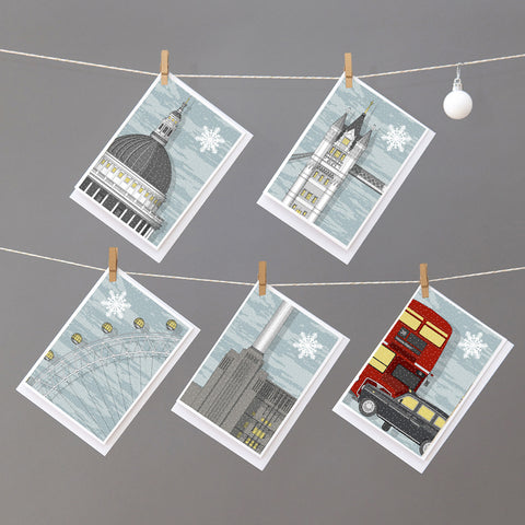 London Set of 5 assorted Christmas Cards by Linescapes