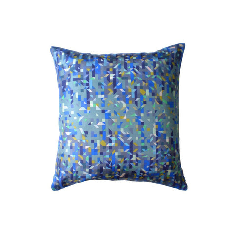 Pixelated Triangles Silk Printed Cushion by Nitin Goyal London