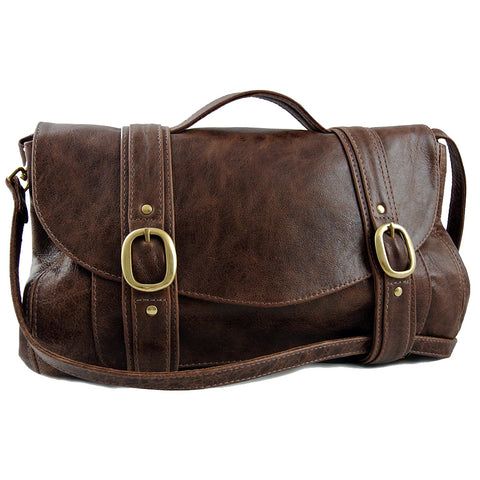 Rustic Brown Hand Crafted Leather Preston Bag by Freeload Accessories