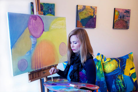 SoKlara working on new designs in her studio