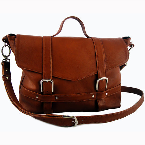 Tan Hand Crafted Leather Midi Satchel by Freeload Accessories
