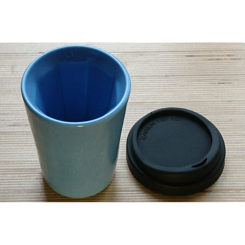 Therma Cup by Jody Leach. Blue with Black Lid